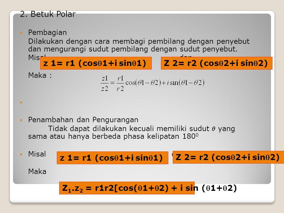 Z1.z2 = r1r2[cos(1+2) + i sin (1+2)